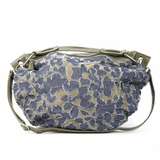Melie Bianco W10-193 Flower Denim Shoulder Bag With Beige Background - Denim