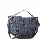 Melie Bianco W10-193 Flower Denim Shoulder Bag With Black Background - Denim