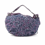 Melie Bianco W10-193 Flower Denim Shoulder Bag With Purple Background - Denim