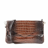 Melie Bianco Zeta Patent Faux Crocodile Envelope Clutch - Brown