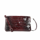 Melie Bianco Zeta Patent Faux Crocodile Envelope Clutch - Dark Red