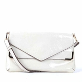 Melie Bianco Zeta Patent Multilayer Envelope Clutch - White