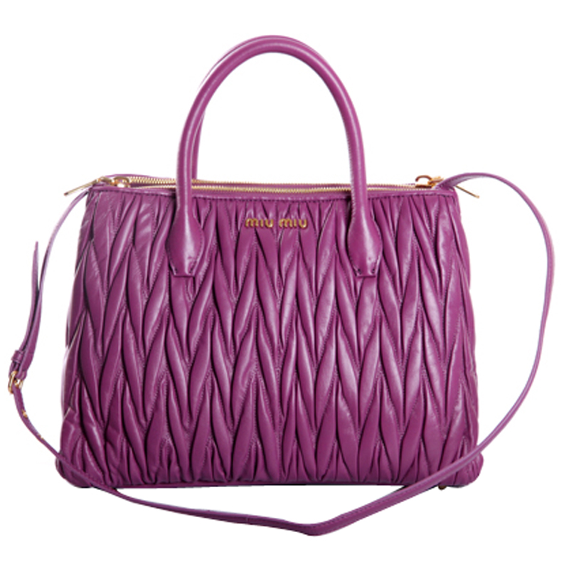 806687ede8e8d Miu Miu Matelasse Leather Tote Bag RN0941 Viola - Purple