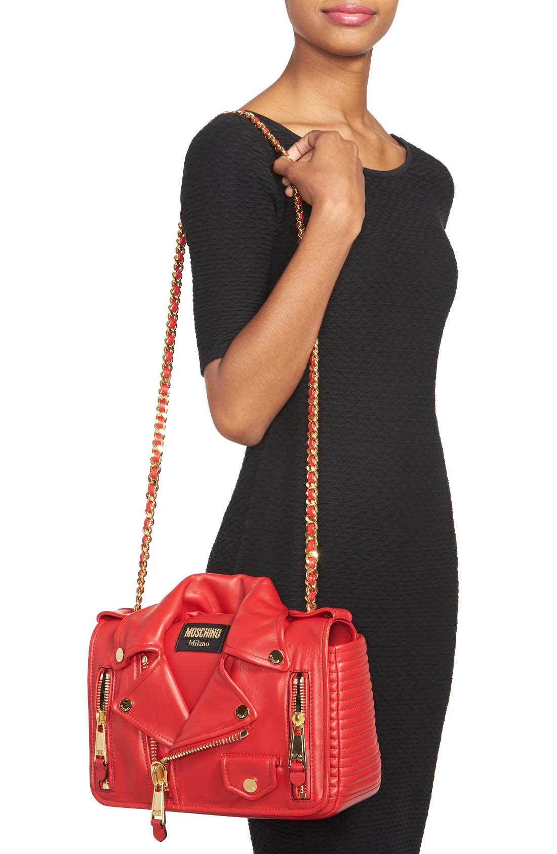 Authentic Moschino Biker Jacket Shoulder Bag Red At