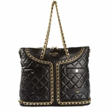 Moschino Quilted Leather Jacket Shopping Tote - Black