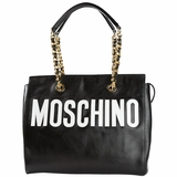 Moschino Stitched Logo Leather Tote Bag - Black