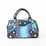 Nicole Lee Catava Python Lover Boston Bag - Blue