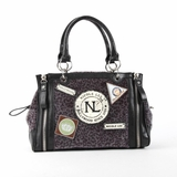Nicole Lee Dana Animal Print Satchel Bag - Black