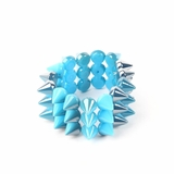 Plastik Krappe 3 Row Spike Stretch Bracelet - Blue