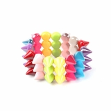 Plastik Krappe 3 Row Spike Stretch Bracelet - Multi Color