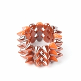 Plastik Krappe 3 Row Spike Stretch Bracelet - Orange