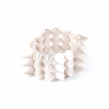 Plastik Krappe 3 Row Spike Stretch Bracelet - Pearl