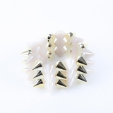 Plastik Krappe 3 Row Spike Stretch Bracelet - Pearl and Gold