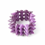 Plastik Krappe 3 Row Spike Stretch Bracelet - Purple
