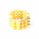 Plastik Krappe 3 Row Spike Stretch Bracelet - Yellow