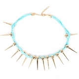 Plastik Krappe Neon Necklace with Gold Spikes