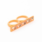 Plastik Krappe Orange Studded 2-Finger Ring