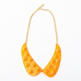 Plastik Krappe Orange Studded Collar Necklace