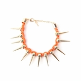 Plastik Krappe Orange Woven Gold Spike Bracelet
