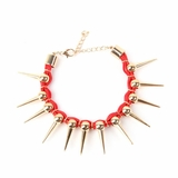 Plastik Krappe Red Woven Gold Spike Bracelet