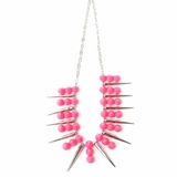 Plastik Krappe Spike Necklace - Magenta and Silver
