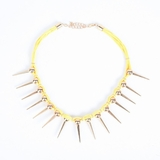 Plastik Krappe Yellow Neon Necklace With Gold Spikes
