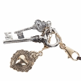 Roberto Cavalli Heart and Keys Combo Keyring Key Chain - Silver/Gold
