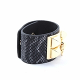 Rock Season Black Leather Snake Print Pyramid Stud Bracelet