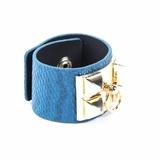 Rock Season Blue Leather Snake Print Pyramid Stud Bracelet