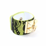 Rock Season Green Leather Lace Pyramid Stud Bracelet