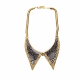 Rock Season Lapel Necklace in Gold with Black