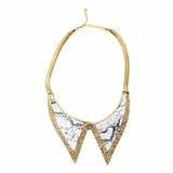 Rock Season Lapel Necklace in Gold with White
