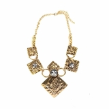 Rock Season Necklace with Crystals in Gold