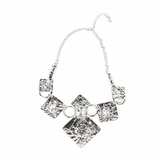 Rock Season Necklace with Crystals in Silver