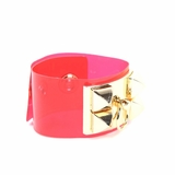 Rock Season Neon Red Transparent Pyramid Stud Bracelet
