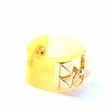 Rock Season Neon Yellow Transparent Pyramid Spike Bracelet