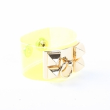 Rock Season Neon Yellow Transparent Pyramid Stud Bracelet