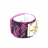 Rock Season Pink Leather Lace Pyramid Stud Bracelet