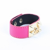 Rock Season Pink Leather Pyramid Stud Bracelet
