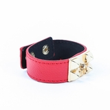Rock Season Red Leather Pyramid Stud Bracelet