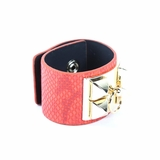 Rock Season Red Leather Snake Print Pyramid Stud Bracelet