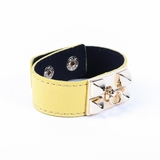 Rock Season Yellow Leather Pyramid Stud Bracelet