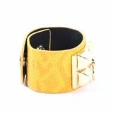Rock Season Yellow Leather Snake Print Pyramid Stud Bracelet