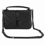 Saint Laurent Chevron College Shoulder Bag - Black