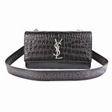 Saint Laurent Croc Embossed Kate Convertible Shoulder Bag - Black