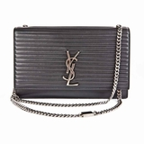 Saint Laurent Monogram Kate Striped Chain Evening Bag - Black