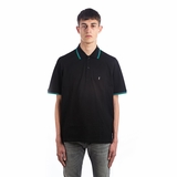 Saint Laurent Striped Polo Shirt - Black