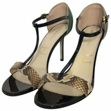 Sergio Rossi High Heel Python Sandals Pumps - Green