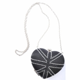 Silver Dagger Heart Clutch - Black