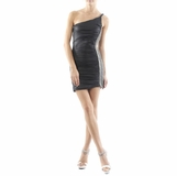 Sky Side Chain One-shoulder Short Black Dress